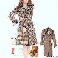 Womens Double Breasted Stylish Long Trench Coat S M L