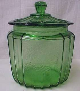 Green Mayfair Depression Glass Cookie Biscuit Jar New