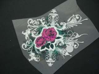 PINK ROSE ON WHITE MOTIF Iron On Heat Transfer Patch