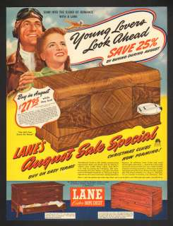 Hope Chest Aviator Soar Into The Cloud Of Romance Vtg. Print Ad