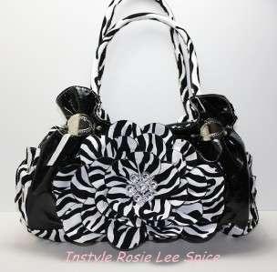 Zebra Black Flower Faux Leather Rhinestone Handbag Bag