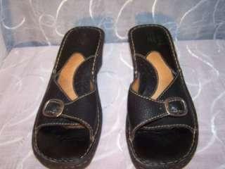 BORN Black Wedge Sandals Slides Mules Shoes 10 / 42