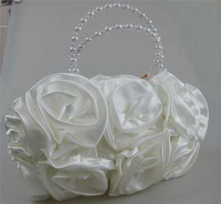 Bridal Satin Rose Clutch Wedding Handbag Party Bag Marriage Favors