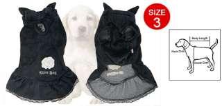 Dog Detachable Closure Bow Tie Decor Neck Black Dress 3