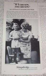 1965 Simplicity sewing JULIA MEADE cute little girl AD