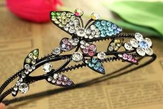 Colorful butterfly flower leaf hairband headband swarovski crystal