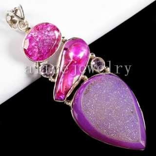21g 925 Silver Agate Druzy Pearl Crystal Pendant Y01338