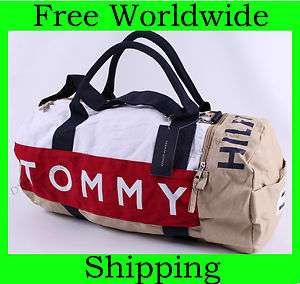 NEW TOMMY HILFIGER LARGE TRAVEL DUFFLE BAG GYM KHAKI