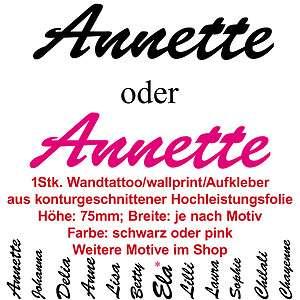Annette Name Kinder Schriftzug Aufkleber sticker Tattoo Schreibschrift