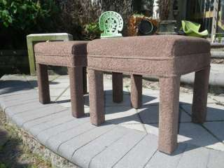 PAIR MID CENTURY MODERN BROWN STOOL/BENCH UPHOLSTERED