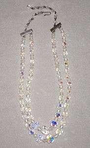 Vintage 2 Strand Aurora Borealis Crystal Bead Necklace