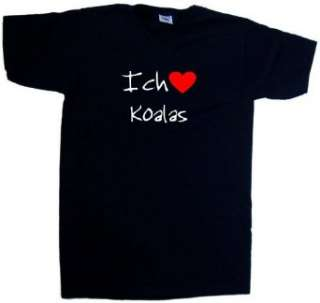 Ich Liebe Koalas T Shirt mit V Ausschnitt, Schwarz