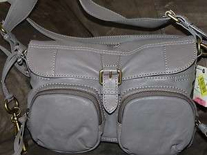 New Fossil Shelby Flap Leather purse handbag Iron Grey