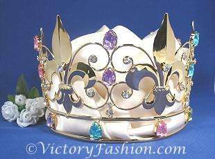 311 Kings Royal Crown Gold tone metal faux Jewels