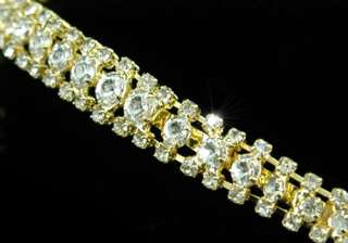 Row Clear Crystal Gold Pl Bridal Headband Tiara T1206