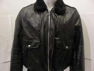 Vintage Cooper Flight Bomber Motorcycle Biker Black Leather Jacket G 1