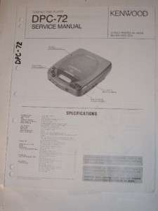 Kenwood Service Manual~DPC 72 Compact Disc CD Player |