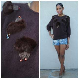 Vtg 80s avant garde ANGORA RABBIT FUR brown slouchy batwing SWEATER