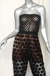 Black CROCHET LACE Strapless Jumpsuit Pantsuit Dress Jumper 4