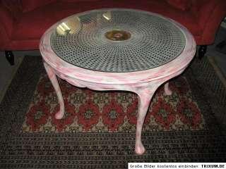 Chippendale Tisch Holz Shabby Chic rose ♥ Ø 90cm antik