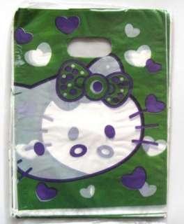 New 50pcs Hello Kitty plastic gift bag green