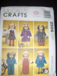 18 Doll American Girl Coat Hat Jumper Overalls Robe New McCalls 2506