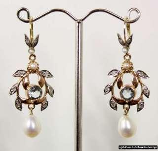 Antik 585er Gold Ohrringe + echte Aquamarine Diamanten Perlen