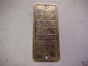 Old Briggs & Stratton Gas Engine Brass Serial Tag 14