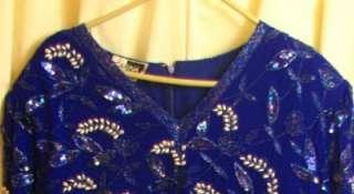 Carina Royal Purple Beaded Sequin Pearl Evening Dress Silk Sheer Plus