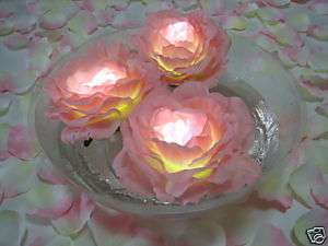 24 LED Floating Pink Silk Rose Candle Wedding Party