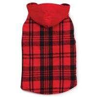 Woodland Plaid Reversible Corduroy Dog Hoodie Jacket Coat Red