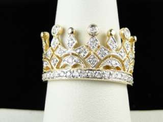 10K YELLOW GOLD CROWN PINKY FASHION DESIGNER DIAMOND RING 1/2 CT