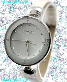 PNP Shiny Silver Watchcase Ladies Women Japan Movement 2035 Fashion