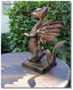 Sm DRAGON STATUE w Bronze finsh Cast Iron Winged Eragon sculpture girl