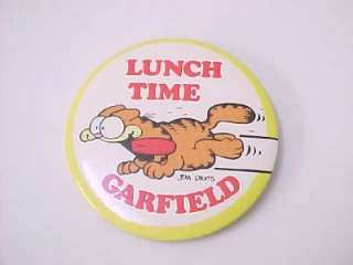 Vintage 1978 Kats Meow GARFIELD LUNCH TIME   Pin Pinback Button