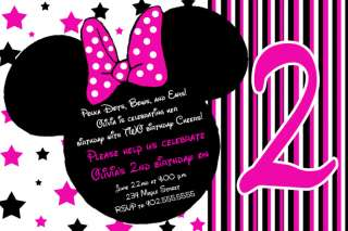 Stars Mickey & Minnie Mouse Birthday Invitations   You Print