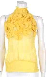 New Yellow High Collar Ruffle Chiffon Halter Top S/M/L