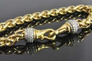 David Yurman Two Tone 18K Gold .66 CT Diamond Wheat Link Chain