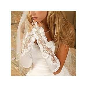 Flowers Pearl Bridal Glove Fingerless Satin Lace Beaded