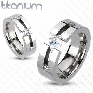 Titanium Fancy open cut band/ring with half ct Princess