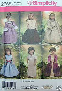 Simplicity 2768 American Girl 18 DOLL CLOTHES PATTERN 6 Outfit