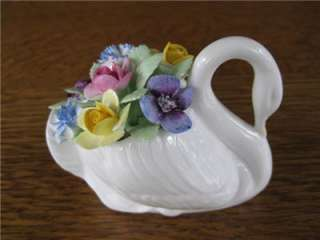 Golden Crown Bone China Hand Painted Flowers in Swan