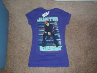 JUSTIN BIEBER PURPLE T SHIRT WITH HIS PICTURE AND NAME ON IT NEW WITH