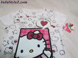 New Hello Kitty Girls White Glitter Short Sleeve Tunic T Shirt Top