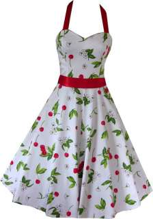 NEW WHITE CHERRY PROM 50s ROCKABILLY WEDDING DRESS 8 18