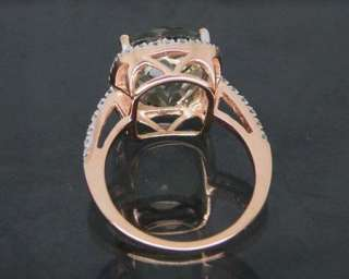 Solid 5.86Ct 14Kt Rose Gold Natural Diamond Green Amethyst Ring