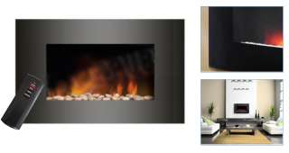 BLACK GLASS CURVED ELECTRIC WALL MOUNTED FIRE PLACE NEW