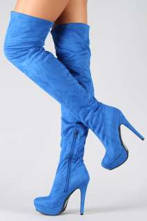 BLUE SUEDE OVER KNEE THIGH HIGH PLATFORM BOOTS HEELS