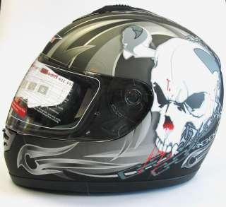 CAN V190 RAGE SKULL MOTORCYCLE MOTORBIKE HELMET LG