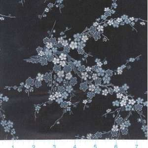 45 Wide Oriental Brocade Fabric Cherry Blossom Black